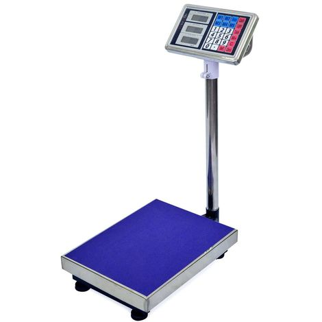 AgoraDirect - Industrial Scale 150kg/20g, Digital LCD Display, Large Stainless Steel Platform 30x40cm, 40h Battery Autonomy, Heavy Duty Parcel Scale For Weighing at Post Office, Warehouse