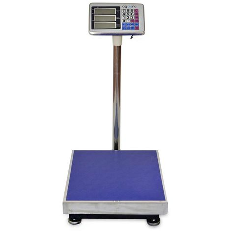 AgoraDirect - Industrial Scale 300kg/50g, Digital LCD Display, Large Stainless Steel Platform 50x40cm, 40h Battery Autonomy, Heavy Duty Postal Parcel Scale For Weighing At Warehouse