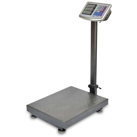 AgoraDirect - Industrial Scale 300kg/50g, Double Sided Digital LCD Display, Foldable, Large Reinforced Steel Platform 40x50cm, 40h Battery Autonomy, Heavy Duty Postal Parcel Scale For Weighing