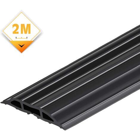 AGPTEK 63.5 * 6.4mm Passe Câble Sol 2M, Cache-câble de plancher, protecteur de câbles de plancher de 2 mètres avec 3 passages pour câbles et fils