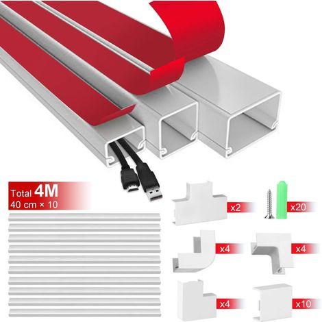 AGPTEK Cache câble, Système de gestion des câbles pour masquer les fils, Chemin de câbles et cordons, Chemin de câbles 40 cm pour bureau, ordinateur, TV, lampe au bureau et à la maison