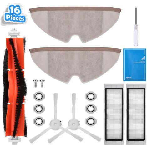 AGPTEK Kit d'accessoires 16 pièces de rechange pour aspirateur Xiaomi, compatible avec les Roborock S55 S51 S50 S5 Max et Roborock S6 de Xiaomi