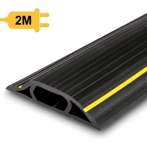 AGPTEK Passe Câble Sol 2M, Couvre-câble de sol, protecteur de câbles de plancher de 2 mètres avec 3 passages pour câbles et fils, Noir