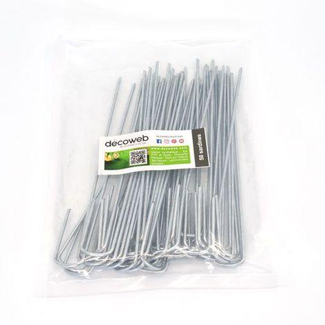 Agrafe d'ancrage pour gazon synthétique - 20 cm - Lot de 50 agrafes