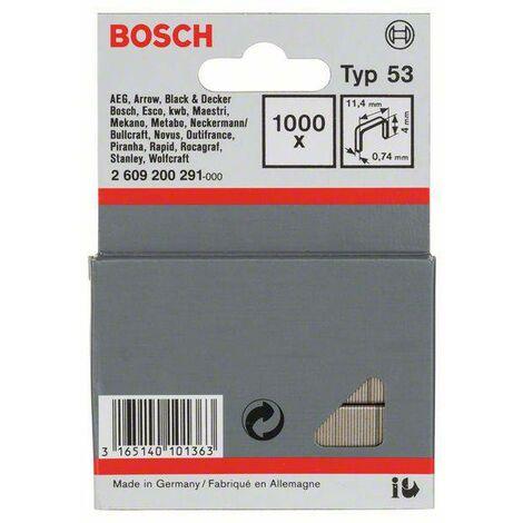 Agrafes à fil fin type 53, 11,4 x 0,74 x 4 mm, 1000 pièces S92889