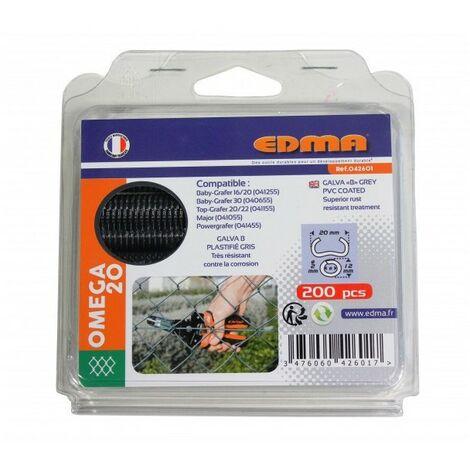 AGRAFES OMEGA 20 - Galva plastifié gris - 200 pcs