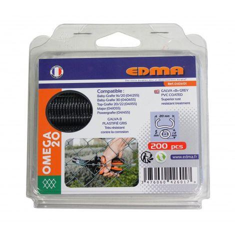 Agrafes omega 20 - galva plastifie gris - 200 pieces EDMA