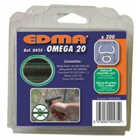 Agrafes Omega 20 galva vert - paquet de 200 - EDMA - 043501