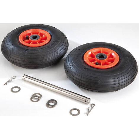 AgriShop Pneus jumelés pour roues Jockey - 260 x 85 mm - charge maximale 110 kg