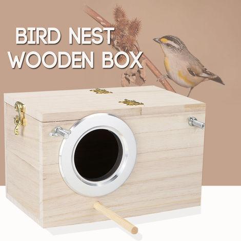 Agujero lateral izquierdo Pequeña caja de nido de madera Parakeet Parakeet alimenta las cajas de cría de la casa (20x12x12cm) Sasicare