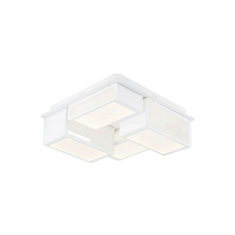Homemania - Ahenk Deckenlampe - Deckenleuchte - Quadratisch - von Wall - Weiss aus Metall, Acryl, 33 x 33 x 12 cm, 1 x Striscia LED, 48W, 5040LM,