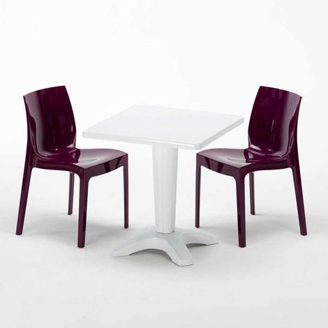 AIA Set Made of a 70x70cm Black Square Table and 2 Colourful ICE Chairs