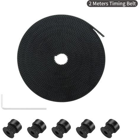 Aibecy 2 Metres Gt2 Courroie 6 Mm Largeur Avec 5Pcs 20 Dents Poulie Gt2 Roues De L'Alesage Cle Allen Pour Accessoires Imprimante 3D