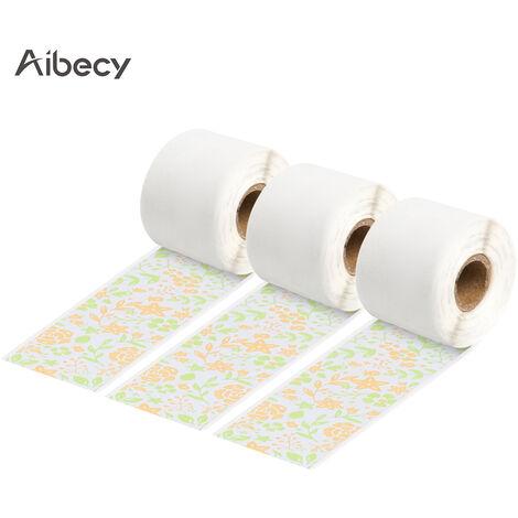Aibecy 3 Rouleaux Auto-Adhesif Papier Thermique Noir Sur Orange Fleur 15Mm * 3.5M Compatible Avec Phomemo M02S Imprimantes Thermiques