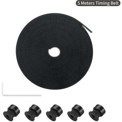 Aibecy 5 Metres Gt2 Courroie 6 Mm Largeur Avec 5Pcs 20 Dents Poulie Gt2 Roues De L'Alesage Cle Allen Pour Accessoires Imprimante 3D