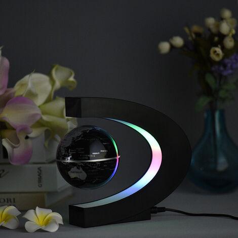 Aibecy creativo de 3 pulgadas C en forma de levitacion magnetica flotante del mapa del mundo Globo con luces LED de colores para el hogar Decoracion del escritorio de oficina Ensenanza Demo, Negro, enchufe de la UE