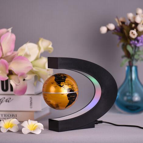 Aibecy creativo de 3 pulgadas C en forma de levitacion magnetica flotante del mapa del mundo Globo con luces LED de colores para el hogar Decoracion del escritorio de oficina Ensenanza Demo, oro, enchufe de la UE