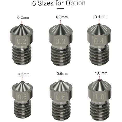 Aibecy De L'Acier Hardened V6 Nozzles Buses Pour Le 0.6Mm 1.75Mm Filament Pour Les Pieces De L'Imprimante 3D