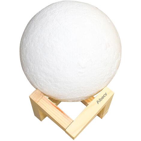 Aibecy, l¨¢mpara de luna de 10 cm / 3,9 pulgadas, luz nocturna USB impresa en 3D PLA