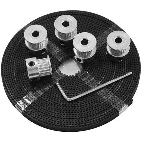 Aibecy Outil Imprimante 3D Kit 20 Dents Timing Aluminium Poulie Roues De 5 Mm Diametre Interieur 5 Metres Timing Gt2 Ceinture Cle Hexagonale Accessoires Pieces Suite Pour Imprimante 3D