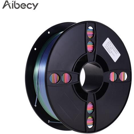 Aibecy Silk Pla 3D Printer Filament Consommables D'Impression Ecologiques 1.75Mm Diametre 1Kg (2.2Lbs) Bobine Precision Dimensionnelle +/- 0.05Mm, Couleur Arc-En-Ciel