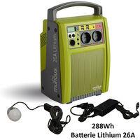 AIC International - Batterie autonome à recharge solaire 26 A Lithium 288 Wh couleur vert et gris