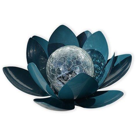 AIC International - Déco lumineuse solaire 27 x 24 x 12 cm forme nénuphar couleur bleu - Lotus