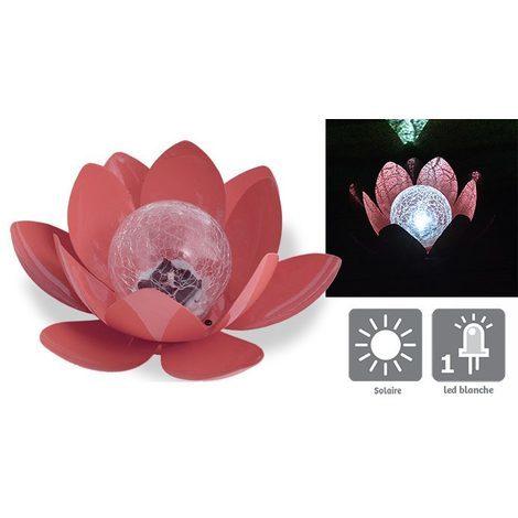 AIC International - Déco lumineuse solaire 27 x 24 x 12 cm forme nénuphar couleur brique - Lotus