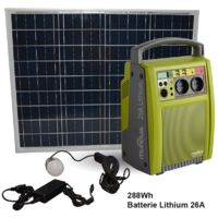 AIC International - Pack batterie autonome à recharge solaire Lithium 288 Wh + panneau solaire polycristallin 50 W - Spark-Li