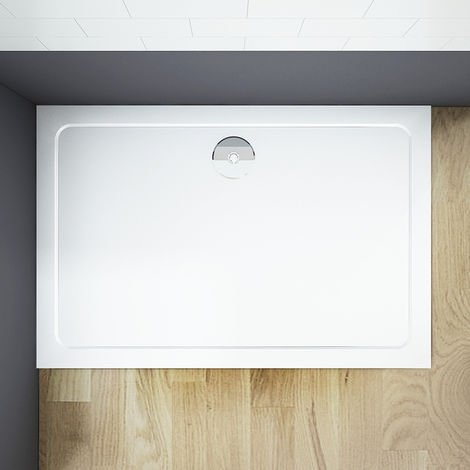 """main image of """"Stone Tray Square Rectangle 30mm Height +Waste For Shower Enclosure Door Cubicle"""""""