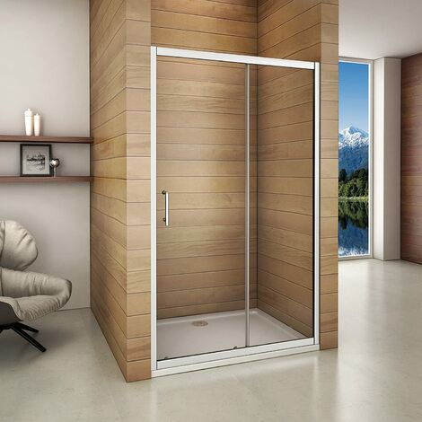 Aica 140x185cm Sliding Shower Enclosure & Tray Door Walk In Screen Glass Cubicle
