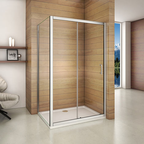 Aica 160x185cm Sliding Shower Enclosure & Tray Door Walk In Screen Glass Cubicle