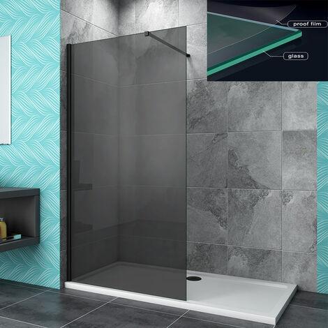AICA 1900mm Black Walk In Wet Room Cubicle 8mm Nano Anti-Explosion Glass NANO Screen