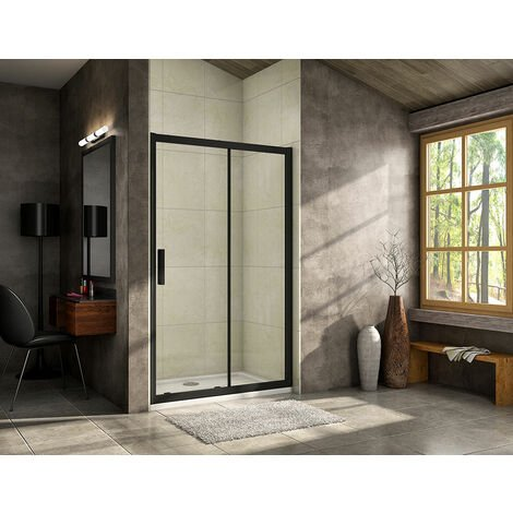 AICA 1950mm Height Sliding Shower Door Black 8mm NANO Glass Shower Enclosures Stone Tray Waste Trap