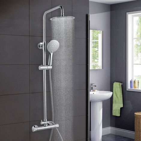 """main image of """"AICA Bathroom Shower Mixer Thermostatic Set Twin Head Chrome Exposed Valve Square Set"""""""