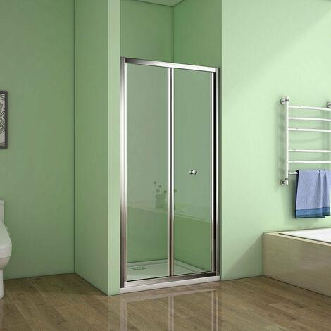 AICA Bi-fold shower doors Chrome 1850mm