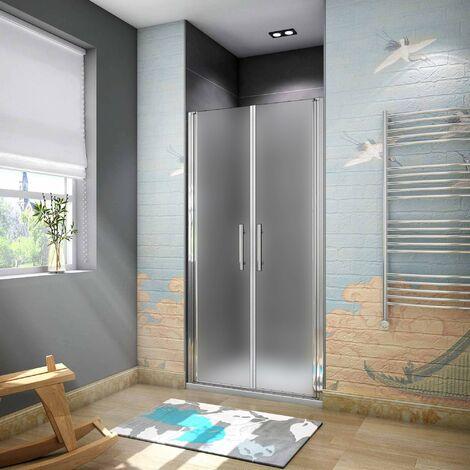 Aica box doccia nicchia cabina doccia apertura a battente cristallo temperato anticalcare opaco satinato da 6mm