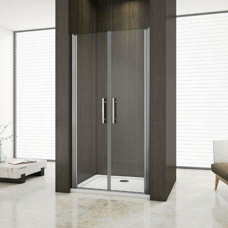 Aica box doccia nicchia cabina doccia apertura a battente cristallo temperato trasparente anticalcare, 6mm Easyclean ESG Sicherheitsglas