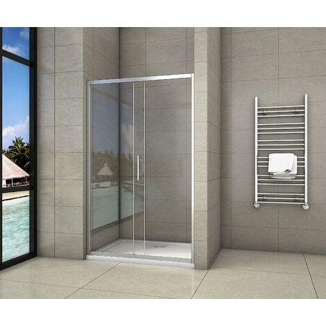 Aica box doccia per nicchia porta scorrevole 2 ante una fissa l'altra mobile cristallo temperato anticalcare 5mm