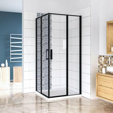 AICA cabine de douche 185cm en verre anticalcaire cabine de douche profilé noir mat