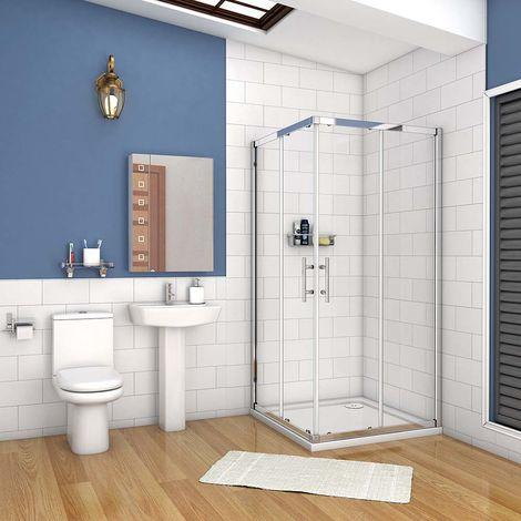 AICA cabine de douche carré en verre anticalcaire porte de douche coulissante hauteur:195cm