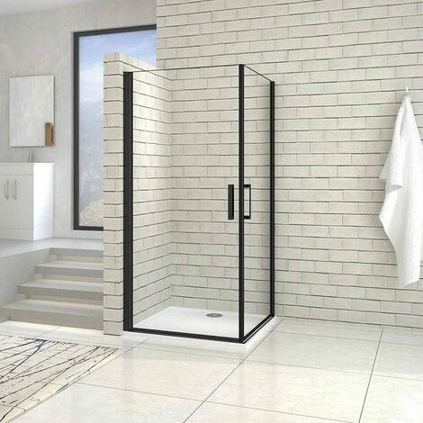 AICA cabine de douche noire porte de douche pivotante noir en 8mm verre anticalcaire hauteur:200cm