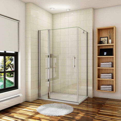 AICA Cabine de douche porte de douche pivotante avec 1 élément fixe et une paroi latérale