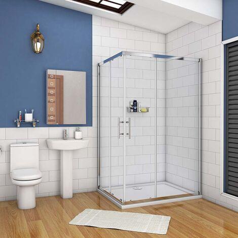 AICA cabine de douche rectangle en verre anticalcaire porte de douche coulissante hauteur:195cm