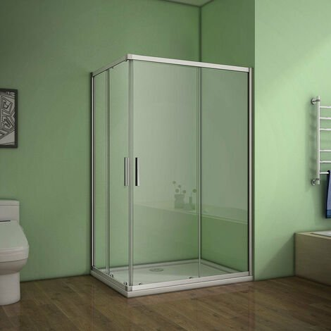 AICA Corner Entry Shower Enclosure Eletro off white with shower tray