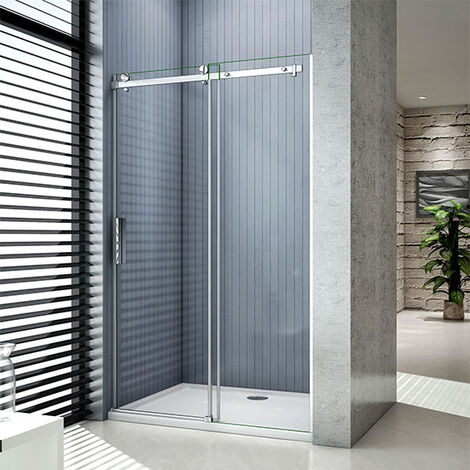 Aica Luxury 1950 Frameless Sliding Shower Enclosure Door,Tray Optional