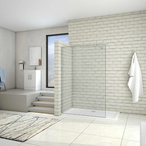 AICA Paroi de douche 80/90/100/120/140/160x200cm douche à l'italienne avec une barre de fixation 140cm