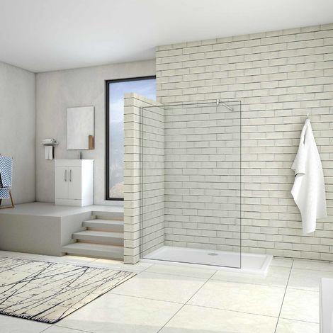 AICA Paroi de douche 80/90/100/120/140/160x200cm douche à l'italienne avec une barre de fixation 90cm