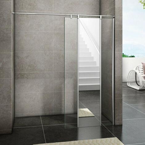 Aica Paroi de douche à l'italienne 100 ou 120 x200cm avec miroir en verre anticalcaire