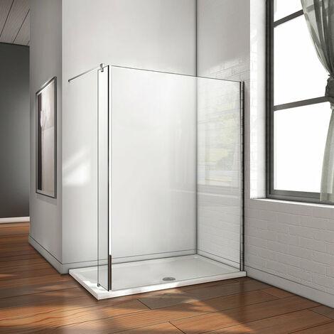AICA Paroi de douche à l'italienne avec retour pivotant fixe 25cm douche à l'italienne